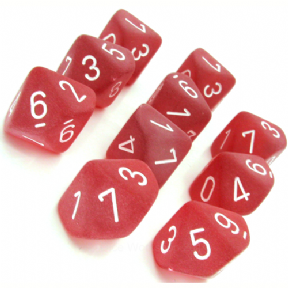 Red & White Frosted D10 Ten Sided Dice Set